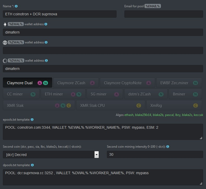 ETH+DCR wallet Hive OS