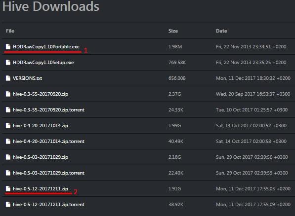 Загрузка Hive OS и программы для записи на носитель