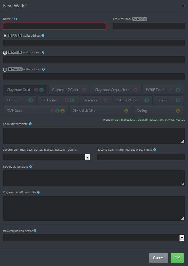 Создание нового кошелька в Hive OS