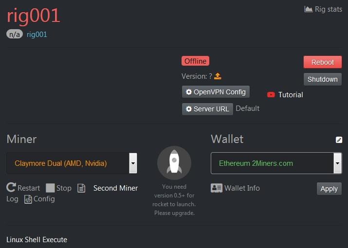Выбор майнера и кошелька в Hive OS