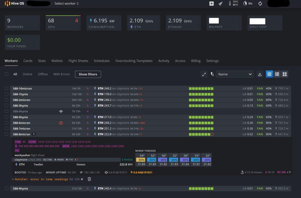 Интерфейс майнинга в Hive OS